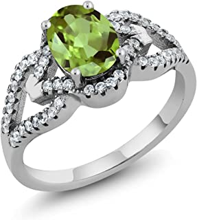 Gem Stone King 925 Sterling Silver Green Peridot Women's Ring 1.35 cttw Center: 8x6mm Oval, Gemstone Birthstone (Available 5,6,7,8,9)