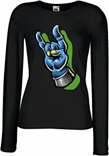 lepni.me T Shirt Women Zombie Hand A Rock and Roll Symbol, Sign of The Horns, Heavy Metal Sign