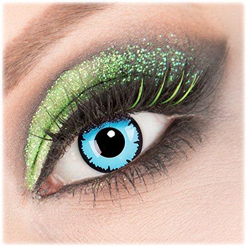 Farbige blaue schwarze 'Sky Demon' Kontaktlinsen 1 Paar Crazy Fun Kontaktlinsen mit Behälter zu Fasching Karneval Halloween - Topqualität von 'Giftauge' ohne Stärke