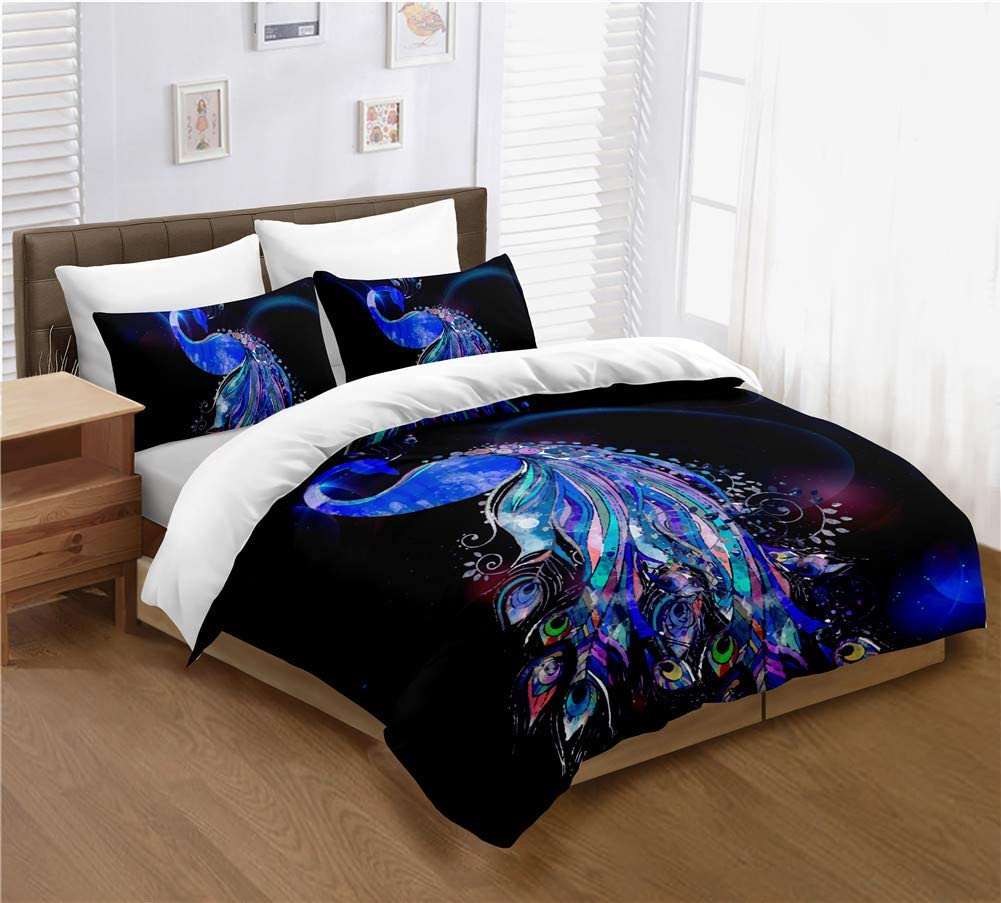 Limited time for free shipping Multicolor Peacock Bedding Sets Queen Se Dark Discount is also underway Duvet Cover Purple