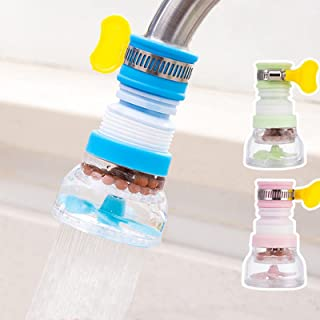 Pack de 3 purificadores de agua para grifos de cocina, rociador telescópico giratorio de 360 °, extensor de grifo de filtr...