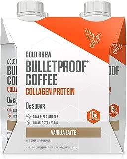 Bulletproof Vanilla Cold Brew Coffee Plus Collagen Protein Peptides, Keto Diet Friendly, Sugar Free, non-GMO, organic, with Brain Octane oil and Grass-fed Butter (Vanilla) (4-Pack)