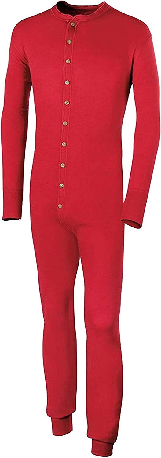 Duofold KMMU Men's Mid Weight Double Layer Thermal Union Suit Red 2 Pack