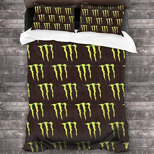 "M-Ons-TER En-Ergy 3-Piece Bedding Set Comforter Quilt Set Twin Size Soft Duvet Cover Set with 1 Quilt Cover 2 Pillow Shams 86"" X70"