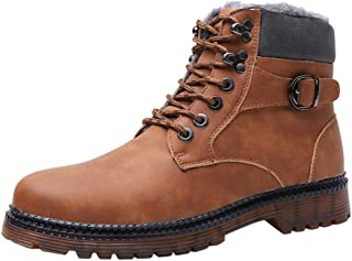 Houshelp Men's Waterproof Hiking Boot Winter Snow Boots Outdoor Mid Ankle Lace up for Backpacking Working Adventure