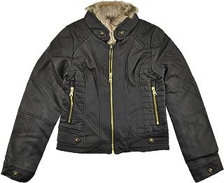 Big Girls Black Faux Leather Outerwear Jacket