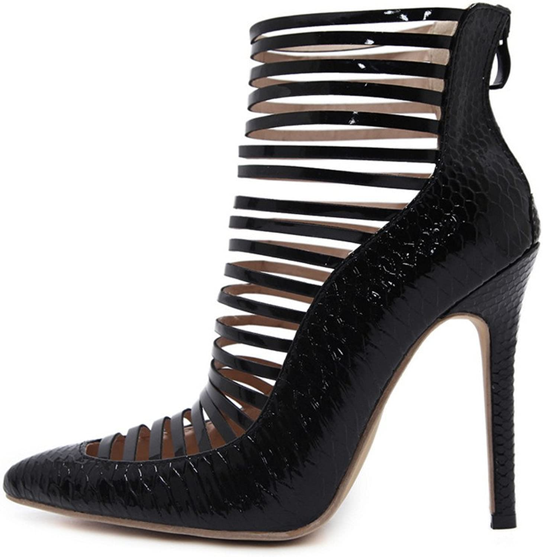 FORTUN Sharp-Toe Hollow Sandals Back Zipper Stiletto Lines Women's Sandals
