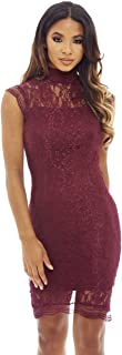 AX Paris Women's High Necked Lace Midi Dress