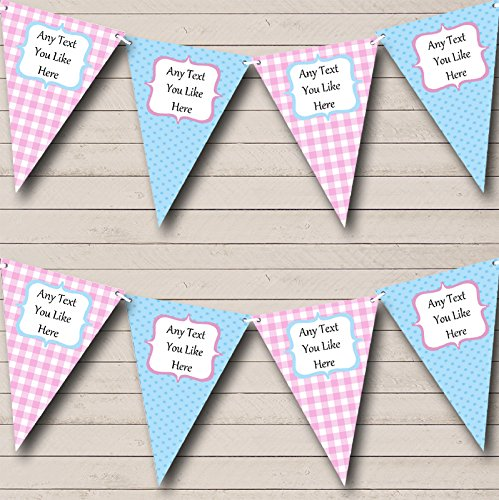 Blue Pink Gingham and Polka Dot Welcome Home New Baby Bunting Banner Garland