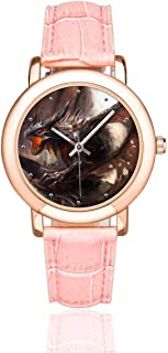 InterestPrint Cool Wolf Leopard Tiger Women's Rose Gold-plated Watch Pink Leather Strap Wrist Watches