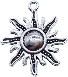 100g Antique Silver Plated Sun Charms Pendant Bracelets Necklace Jewelry Findings Jewelry Making Craft DIY 26mmx24mm(a-1059, 100g)