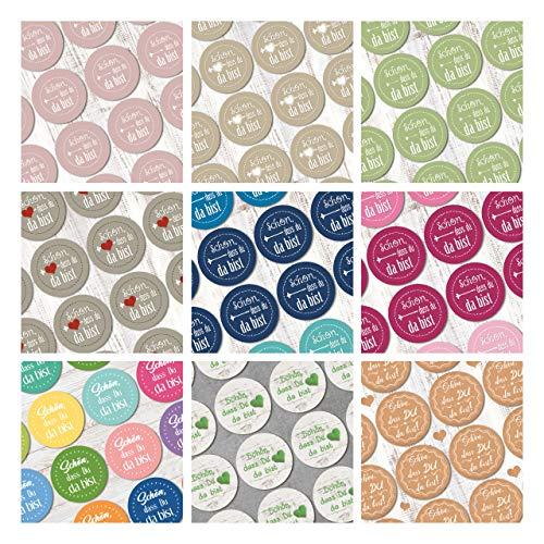 Logbuch-Verlag Aufkleber Set 9 x 24 Sticker SCHÖN DASS DU DA BIST bunt Herz DIY Verpackung Etiketten selbstklebend rund Gastgeschenk Give-Away Hochzeit Geburtstag Willkommen