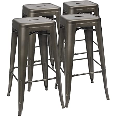 Dhp Fusion Metal Backless 30 Bar Stool With Wood Seat Distressed Metal Finish For Industrial Appeal Set Of Two Antique Gun Metal Furniture Decor