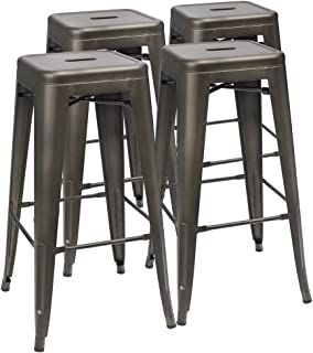 Furmax 30 Inches Metal Bar Stools High Backless Stools Indoor-Outdoor Stackable Kitchen Stools Set of 4 (Gun)
