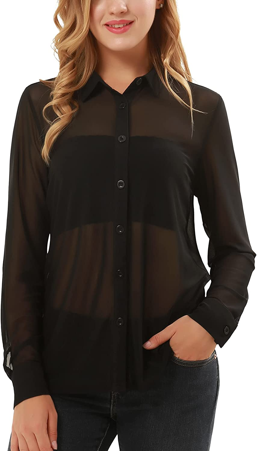 BAISHENGGT Womens Sexy See Through Long Sleeve Button Down Mesh Tops Blouses