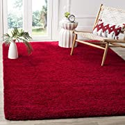 Safavieh Milan Shag Collection SG180-4040 2-inch Thick Area Rug, 6' x 9', Red