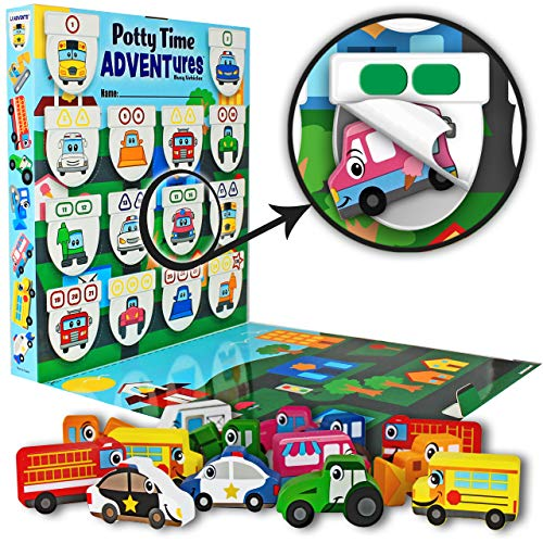 Lil ADVENTS Potty Time ADVENTures Potty Training Game - 14 Block Wood Toys, Chart, Activity Board, Stickers and Reward Badge for Toilet Training, Busy Vehicles