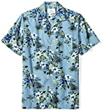 Amazon Brand - 28 Palms Men's Standard-Fit Tropical Hawaiian Shirt, Light Blue Hibiscus Floral, Large