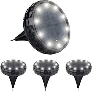 Devo Upgraded Solar Ground Lights Disk Ligths Outdoor 10LED Outdoor Garden Lights 1500mAh IP65 Waterproof Solar Lights for...