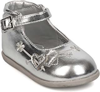 Metallic Leatherette Round Toe Heart Decor Ankle Strap Flat (Infant Girl/Toddler Girl) FJ93 - Silver