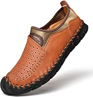Men's Penny Loafers Breathable Leather Casual Shoes Summer Driver Moccasin Shoes Flats Boat Shoes Slip ons
