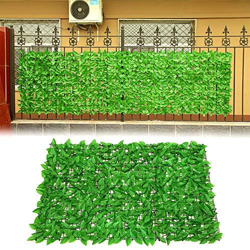 Sichtschutz Künstliche Blatt Hecke Erweiterbare Zaun Spalier Efeu Blätter Panels Balkon Sichtschutzhecke für Garten Yard Party 0,5x1m-Green 1PC