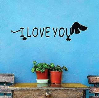 liubeiniubi I Love You Cartoon Dog DIY Wall Sticker Lover Bedroom Decoration Removable Wall Decals Wallpaper Poster Home Decor Accessories 44X176CM