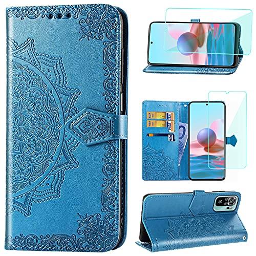 Yohii Funda para Xiaomi Redmi Note 10 4G / Note 10S + Cristal Templado, Libro Caso Piel PU Soporte Plegable Ranuras Cartera con Tapa Tarjetas Magnético Cuero Flip Carcasas - Azul