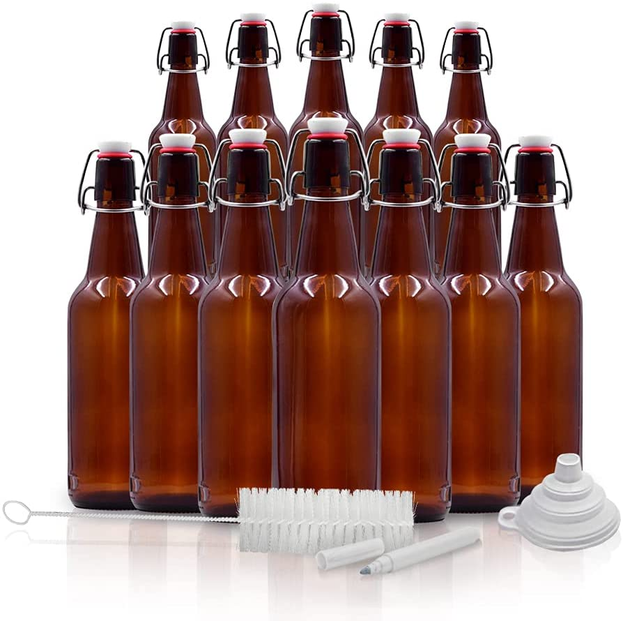 Mockins 12 Pack of Amber Glass Beer Bottles for Home Brewing 16 oz - The Glass Bottles with Caps comes with a Funnel a Brush and Gold Marker - Great Amber Bottles and Empty Bottles for Beer Brewing