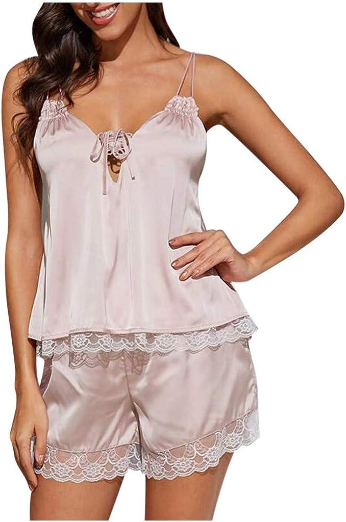 Forthery-Women Lace Modal Sleepwear Sexy Lingerie Satin Pajamas Cami Shorts Set Nightwear