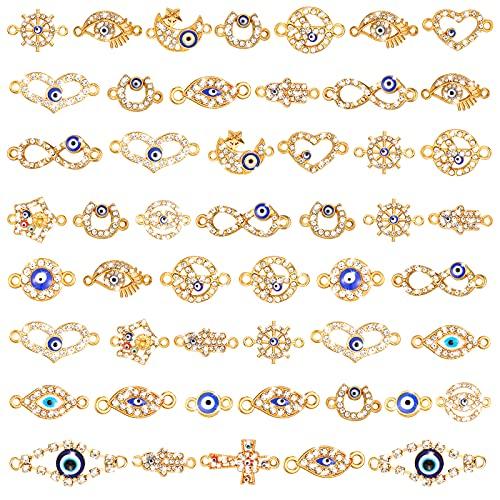 50 piezas de aleación mixta esmalte de ojos encantos surtidos del mal de ojo encantos de diamantes de imitación de enlace de ojo maligno para joyería DIY collar pulsera manualidades
