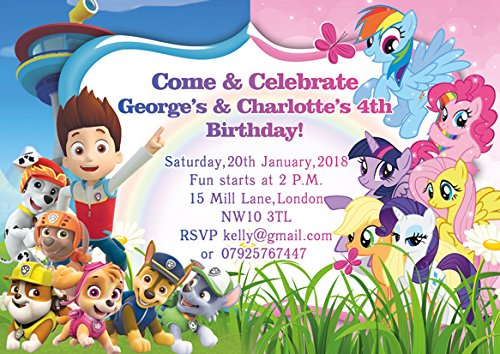 10 x Gelenk Paw Patrol My Little Pony personalisierbar Kinder Geburtstag Party Einladungen oder Dankeskarten with White envelopes