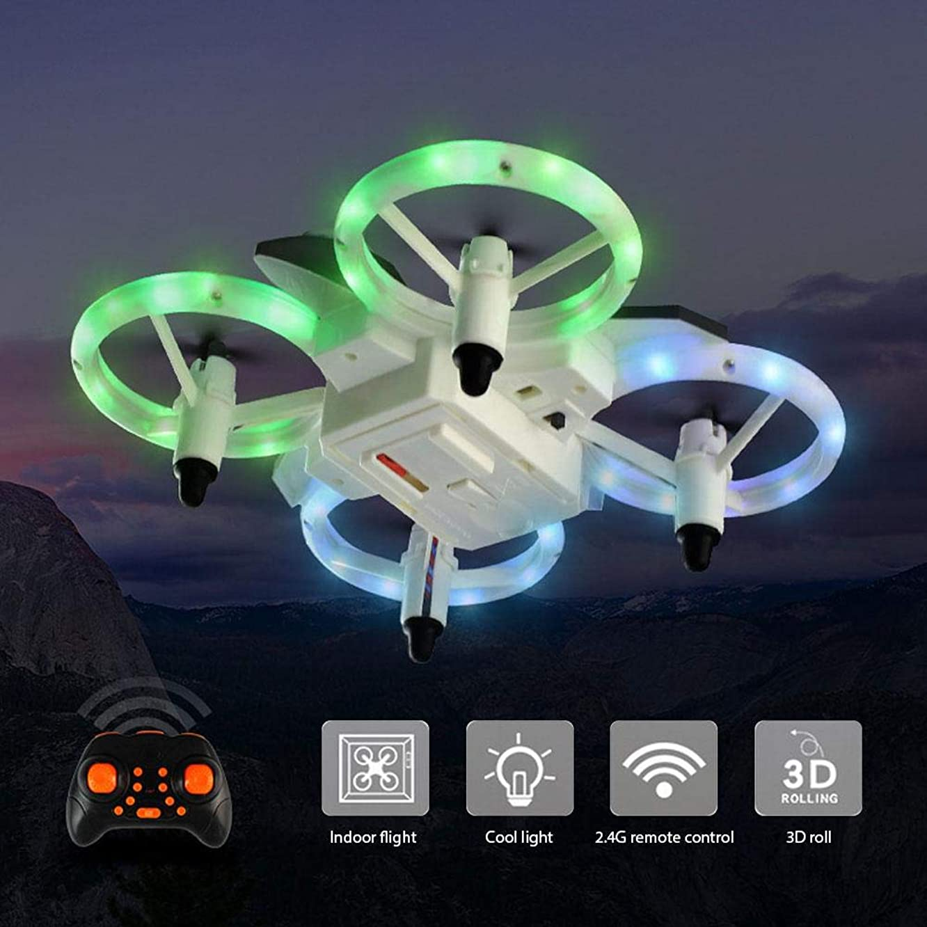 TEEPAO Mini Drone for Kids Beginners RC Remote Control Quadcopter Drone w/ 2 Color LED Lights & 3D 360° Flips Rolls & Hovering & 2 Gift Extra Rotor Blades - Headless Fly Toy
