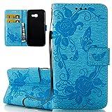 ISAKEN Compatibile con Samsung Galaxy A5 2017 Custodia con Strap Tinta Unita in PU Pelle Portafoglio Wallet Case Flip Over con Supporto di Stand/Carte Slot/Chiusura Magnetica - Fiore: Blu