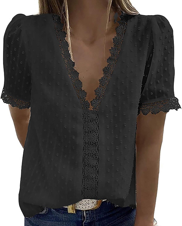Aukbays Women's V Neck Short Sleeve Lace Shirts Blouses Vintage Elegant Tunic Tops Tees