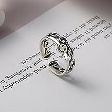2021 Vintage Oud Zilver Kleur Gelukkig Lachend Gezicht Open Ringen voor Vrouwen Mannen Unisex Hip Hop Verstelbare Ring Mod...