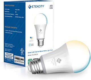 Etekcity Smart Light Bulb, Easy Setup WiFi Dimmable and Tunable White LED Bulb, Work with Alexa and Google Home, Work Light, A19 E26, 60W Equivalent, 806LM, 2700K-6500K, No Hub Required, UL Listed