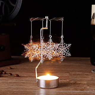 Valentine's Best Gift!!!Kacowpper Hot Spinning Rotary Metal Carousel Tea Light Candle Holder Stand Light Xmas Gift