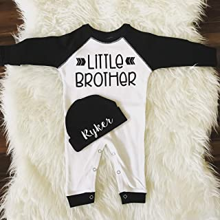 Newborn boy romper, Little brother outfit, custom name beanie, baby boy coming home outfit