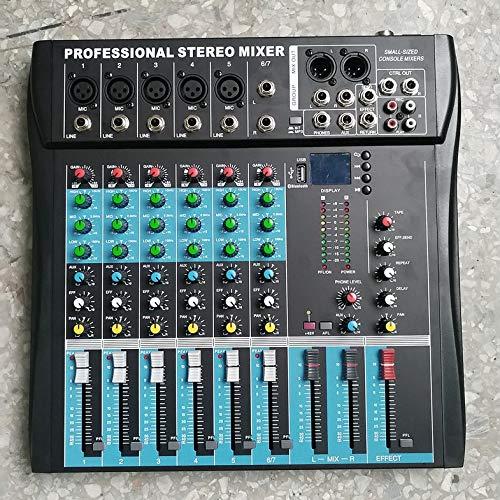 CT6 Mezclador estéreo Profesional de 6 Canales Consola de Sonido de Audio en Vivo Procesador de Efectos vocales con Entrada estéreo Mono y 2 Canales de 4 Canales - Negro