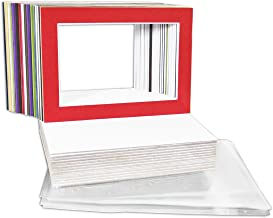 Golden State Art, Pack of 25 Mix Pre-Cut 5x7 Picture Mat for 4x6 Photo with White Core Bevel Cut Mattes Sets. Includes 25 High Premier Acid Free Bevel Cut Matts & 25 Backing Board & 25 Clear Bags