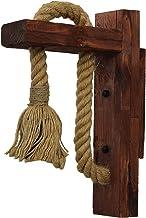 Weskjer E27 wandlamp van rustiek hout, wandlamp van henneptouw, handgemaakt, decoratieve wandlamp van robuust hout, vintag...