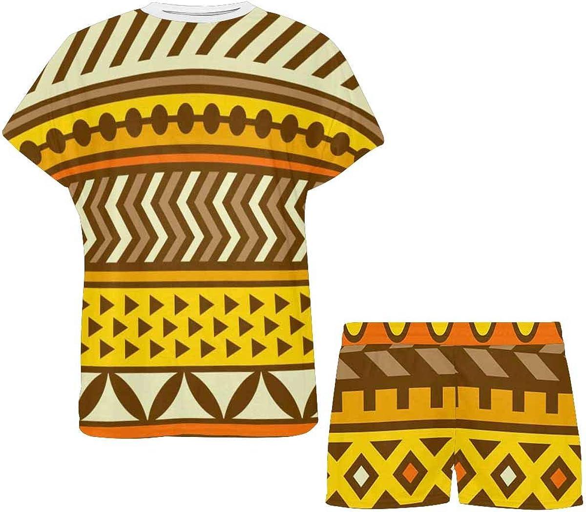 INTERESTPRINT African Tribal Print Women Sleepwear Short Sleeves Pajama Sets