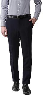 American-Elm Men's Navy Blue Cotton Slim Fit Formal Trouser for Office Wear