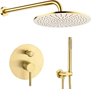 TRUSTMI 12 inch Round Bathroom Luxury Rain Mixer Combo Set Wall Mounted Rainfall Shower Head System Brushed Gold, (Contain Faucet Rough-in Valve Body and Trim)