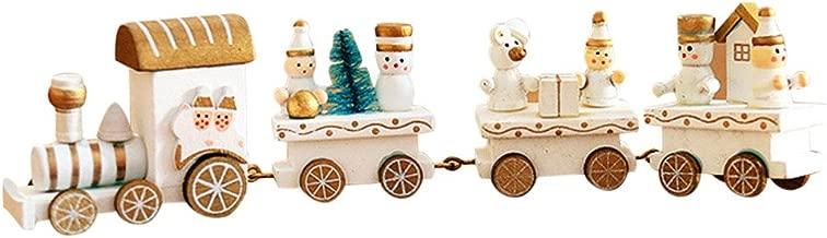 Pequeño tren de Navidad, Holacha Decoraciones de navidad Hecho de maderas para Niños Jardín de infancia Festivo (Blanco)