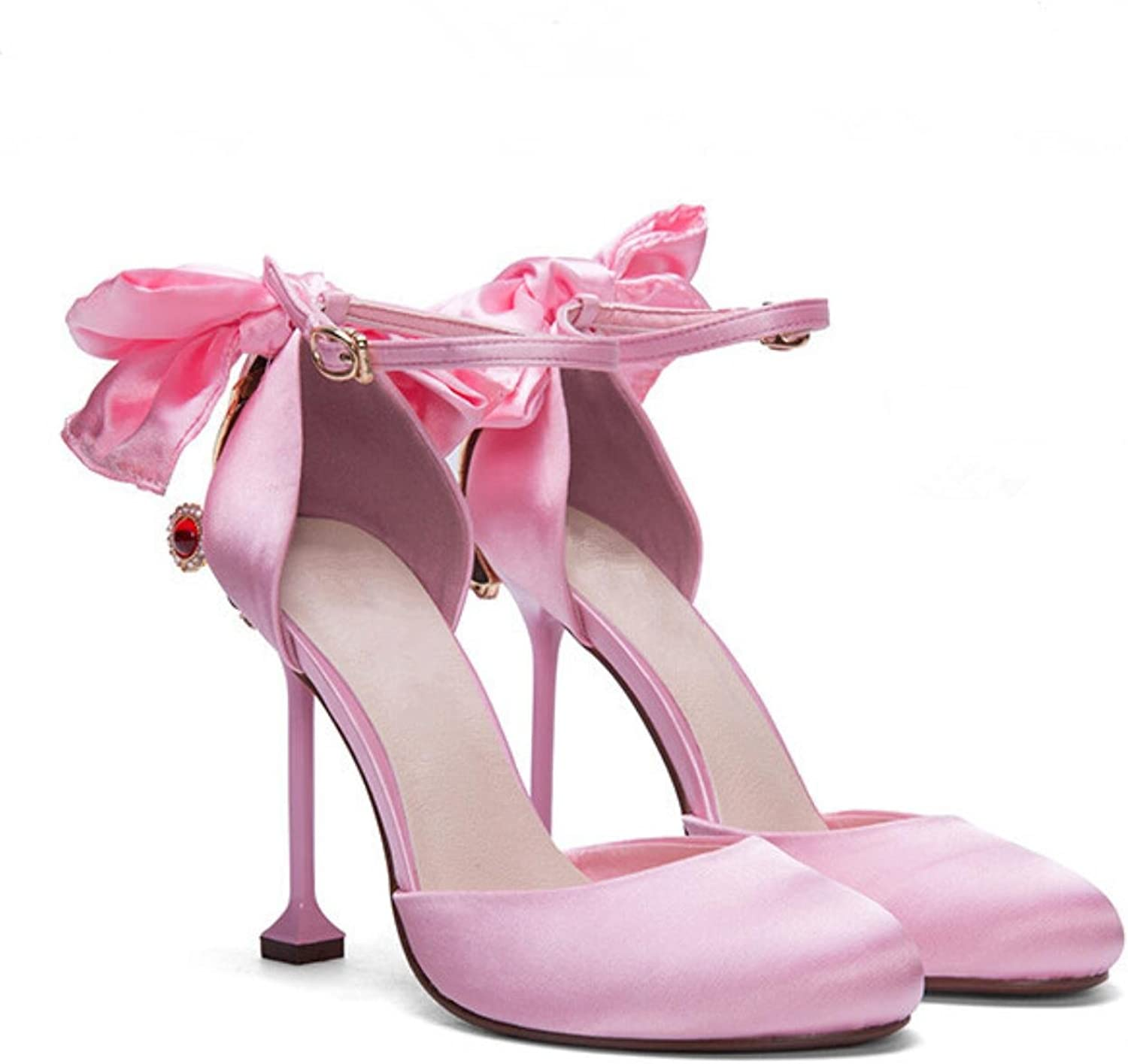 High Heels shoes Woman Luxury Wedding Sandals Sexy Women shoes Pink Butterfly-knot Sandals