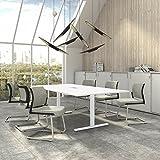 Weber Büro EASY Konferenztisch 240x120 cm Weiß mit ELEKTRIFIZIERUNG Besprechungstisch