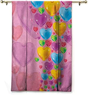 Andrea Sam Tie Up Curtain Princess,Romantic Stylized Art with Colorful Crystal Hearts Creative Fun Celebration Theme, Multicolor,28