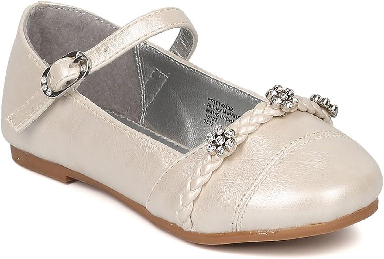 Alrisco Girls Round Toe Rhinestone Flower Mary Jane Ballet Flat HB72 - Ivory Leatherette (Size: 3 Big Kid)